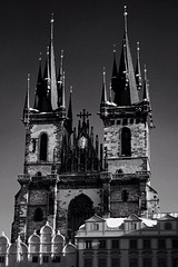 Church of our Lady of tyn (benbarry580) Tags: old bw white black church monochrome skyline architecture square town europe republic czech prague sony gothic january praha 2880mm a77ii