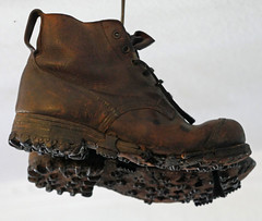 Old Mountaineering boots (radio53) Tags: mountain history leather metal boots climbing alpine mountaineering tread cleats hobnail vibram alpinist