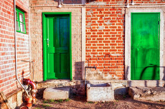 Green Doors [Explored] (Daniela 59) Tags: door old wall doors outdoor farm bricks oldhouse brickwork outbuilding otjiwarongo wallwednesday danielaruppel thursdaydoorday farmhelenenhof