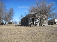 37. A dilapidated house in Mercier, a Brown County Ghost Town, 2-14-16 (leverich1991) Tags: brown town exploring ghost kansas mercier 2016