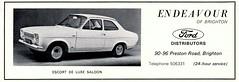 1968 ADVERT - ENDEAVOUR FORD PRESTON ROAD BRIGHTON - FORD ESCORT MK1 SALOON (Midlands Vehicle Photographer.) Tags: road ford brighton advert preston 1968 saloon escort endeavour mk1