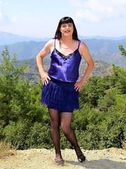 Hot day outfit (Paula Satijn) Tags: mountains hot sexy stockings girl sunshine outside purple silk cyprus skirt tgirl transvestite satin miniskirt gurl