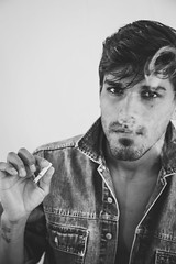 Just a cigarette (Camila Sugai) Tags: boy blackandwhite men canon studio relax cigarette smoke feel estudio pretoebranco mafioso badboy 6d