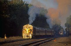 A Day With OC 1203: 1 (craigsanders429) Tags: sunrise passengertrains pennsylvaniarailroad passengercars rs18 sunrisephotography alcolocomotives ohiocentralrailroad dennisonohio ohiocentral1800