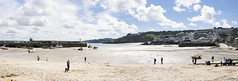 St. Ives (116/366) (AdaMoorePhotography) Tags: uk travel blue sea england sky people panorama sun holiday seascape beach water clouds landscape outside outdoors seaside spring sand nikon cornwall day waves pano sunny gb land stives day116 366 d7200