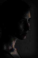 Edge of the Light - 14/52 - Explored (jrobblee) Tags: light portrait bw woman selfportrait me female self canon dark eos blackwhite flashlight lowkey chiaroscuro selfie ghettolighting 70d ef85mm f12l
