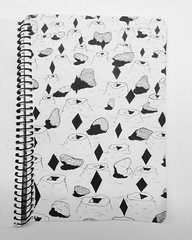 Craters, rocks and diamonds (matvei voznik) Tags: art rock diamonds sketch carved graphics rocks shadows desert mud drawing plateau shapes grafik sketchbook craters clay bnw lineart rhombus fineliner unipin