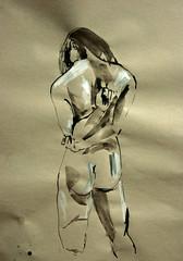Ruckenakt, linke Hand hlt rechten Ellenbogen hinter dem Rcken (Alemwa) Tags: woman berlin kreuzberg nude akt sketching frau zeichnung aktzeichnung zeichnen alemwa