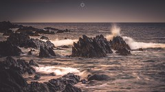 Explosive Elements (Augmented Reality Images (Getty Contributor)) Tags: longexposure sunset sea seascape water canon landscape scotland seaside rocks waves aberdeenshire coastline moray sandend leefilters