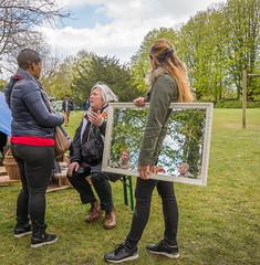on reflection (stevefge) Tags: park girls people netherlands nijmegen reflections mirror spiegel nederland goffertpark koningsdag nederlandvandaag reflectyourworld