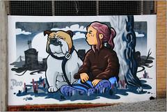 Art Quarter Street Art (Mabacam) Tags: dog streetart london girl wall graffiti stencil mural wallart bulldog urbanart freehand publicart croydon aerosolart roo spraycanart stencilling 2016 urbanwall theartsquarter