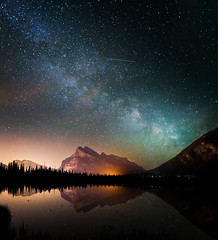 Vermilion Vertipano (DeviantOptiks) Tags: longexposure nightphotography panorama lake canada mountains reflection calgary night stars nikon explore galaxy alberta mountrundle banffnationalpark milkyway canadianrockies shootingstar vermilionlakes vertipano