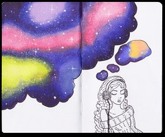 Space in Her Thoughts (Kate_Lokteva) Tags: music illustration watercolor sketch space sketchbook listening  letraset      promarkers    spacelistening