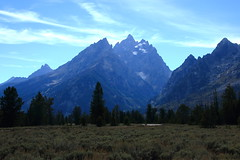 Cathedral Group of Grand Teton Range (Teewinot Mountain (left), Grand Teton (center), Mt Owen (right)) - Grand Teton National Park, Wyoming (danjdavis) Tags: mountains nationalpark rockymountains wyoming grandtetons grandteton grandtetonnationalpark cathedralgroup mountowen teewinotmountain grandtetonrange