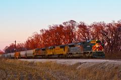 WP at Airport (tim_1522) Tags: railroad heritage illinois twilight pacific sub union grain rail il chester western 1983 subdivision emd railfanning sd70m sd70ace