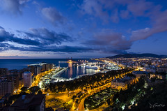 Mlaga (J Fuentes) Tags: city sky clouds port sunrise puerto luces noche mar long exposure flickr ciudad save amanecer cielo nubes nocturna gibralfaro largaexposicin longexposition