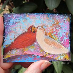 Cardinal Kiss (JoMo (peaceofpi)) Tags: canada love birds animals atc painting miniature artwork kiss acrylic cardinal aceo peaceofpi