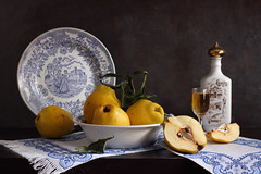 The Golden Apples (panga_ua) Tags: blue yellow still embroidery plate bowl calm romantic stillness quince glassofbrandy thegoldenapples paintedceramicbottle