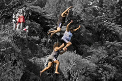 Cliff Jumping 07 (C & R Driver-Burgess) Tags: girls shadow cliff men fall boys water forest river high jump bush women alone body air hills together shade maori splash sunlit leap scrub banks hurl pakeha