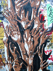 Tree of Hands, San Francisco, CA (Robby Virus) Tags: sanfrancisco california street tree art hands reaching wheatpaste paste fingers reach pant givmo