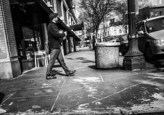 Stepping Into The Day (TMimages PDX) Tags: road street city people urban blackandwhite monochrome buildings portland geotagged photography photo image streetphotography streetscene sidewalk photograph pedestrians pacificnorthwest avenue vignette fineartphotography iphoneography