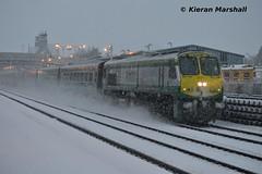 215 passes Kildare, 4/3/16 (hurricanemk1c) Tags: irish snow train gm rail railway trains railways irishrail 201 215 kildare generalmotors 2016 emd iarnród éireann iarnródéireann snowshot 0700heustoncork