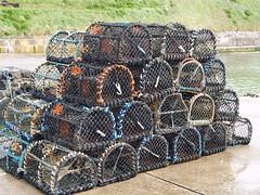 Fishing Gear (divnic) Tags: county uk sea water coast fishing harbour northernireland ni lobsterpots northchannel antrim northcoast lobstertrap irishsea portballintrae fishingequipment creelpots