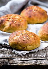 buns with bran and a linen seed. healthy food. (Zoryanchik) Tags: food brown white breakfast bread wooden healthy natural background wheat grain cereal seed tasty daily fresh gourmet whole bakery buns snack meal round organic diet flour bake bun baked bran nutrition