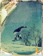 Expired Polaroid (Keaton Andrew) Tags: polaroid snowboarding jump denver expired snowboarder landcamera 669 rubyhill securityfilm landcamera195