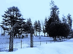 snow day at fourmile grove....(Explored) (BillsExplorations) Tags: winter snow cold cemetery grave graveyard fence illinois memorial gate winterweather hff fourmile fencefriday