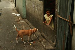 girl with her dog (the foreign photographer - ) Tags: dog girl portraits canon thailand kiss child bangkok doorway tanon khlong bangkhen 400d