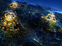 Pyramids (KhanhDuy Vo) Tags: city blue tower yellow mystery architecture danger dark wonder landscape dangerous construction cityscape sad pyramid mechanical steel space alien machine engineering structure architectural spooky fairy fantasy planet mysterious imagination mystical concept spirituality unreal tomorrow shape sullen mechanic bizarre mystic futuristic structural imaginative elegance landscaped