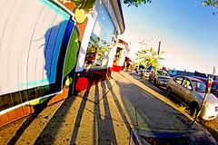Blue Echo (kirstiecat) Tags: california blue sunset shadow vacation woman building girl architecture america canon la losangeles surrealism creative surreal stranger poetic saturation echopark daydream fisheyelens thanksagainlindsey