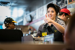 Service With A Smile (Rafe Abrook Photography) Tags: usa coffee smile orlando florida candid streetphotography diner wafflehouse staff thumb service thumbsup waitress clermont americandiner
