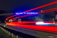 Welcome to Bournemouth (mpelleymounter) Tags: longexposure traffic motorway headlights dorset lighttrails bournemouth carlights brakelights traffictrails dualcarraigeway a338 spurroad welcometobournemouth markpelleymounter welcometobournemouthsign