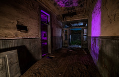On the way out. (GnarlyRelics) Tags: door wood longexposure school light moon lightpainting abandoned night rural painting out outside photography hall nikon ruins closed long exposure paint texas open purple decay tx country hallway full fullmoon explore indoors d750 inside 1959 1913 urbex lightpaint 14mm rurex rokinon texploration