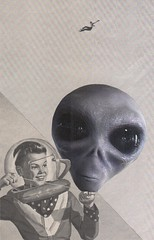 alien balloon (kurberry) Tags: collage blackwhite alien balloon cutpaste vintageephemera losdiascontados analoguecollage