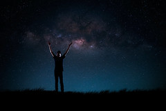 Milky way (Patrick Foto ;)) Tags: travel sky people mountain man male tourism nature beautiful up silhouette night standing way stars landscape person star freedom heaven hand arms hiking background space hill lifestyle peak tourist victory adventure galaxy journey astronomy activity universe success milky starry tranquil