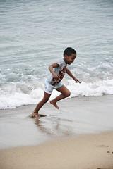 . . (Trang |C-Cat|) Tags: ocean barcelona boy sea cute beach children coast kid movement nikon waves child joy happiness d3300