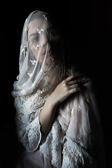 Shadows (lunarlaro) Tags: light portrait woman face shadows hand darkness autoportrait lace emotions