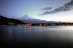fuji at dusk (mariusz kluzniak) Tags: blue sunset mountain lake japan landscape volcano asia long exposure fuji dusk east hour picturesque far