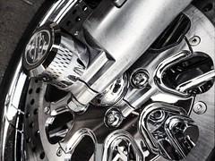 Machinery (Thad Zajdowicz) Tags: california blackandwhite bw white abstract black monochrome bike closeup outdoor availablelight machinery motorcycle vehicle monrovia photoshopexpress zajdowicz