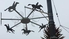Eadweard Muybridge inspired mobile by BB by Castro Muni station #streetart (larrybobsf) Tags: horses sculpture streetart silhouette mobile zoetrope plopart eadweardmuybridge