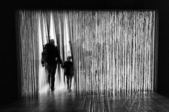 A Walk into the Unknown (darren.cowley (off and on until June)) Tags: nottingham blackandwhite motion black blur art monochrome silhouette dark cool gallery shadows walk curtain unknown nottinghamcontemporary