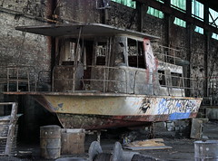 The Tiny Ship Was Trashed (95wombat) Tags: old newyork abandoned industrial decay rusty decrepit ruined rotted contaminated