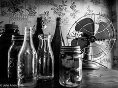 All Bottled Up (John E. Allen) Tags: fan blackwhite bottles michigan historic muskegon westmichigan johnallen hackleyhume lumixg6