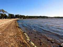 Stranden i Alingss (Charly Hund) Tags: blue lake nature water sand sweden beech
