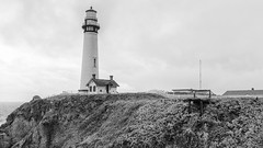 Pigeon Point Lighthouse (rschnaible) Tags: ocean california light bw usa lighthouse white house seascape black west building architecture point landscape photography coast us san tour pacific pigeon sightseeing monotone tourist coastal western mateo touring