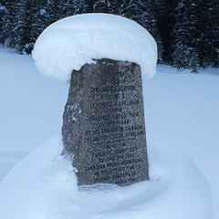 The Great Divide Cross-country Ski Outing - Monument to the discoverer of the Kicking Horse Pass (benlarhome) Tags: mountain snow canada ski ice rockies nationalpark track crosscountry trail alberta rockymountain banff dogsledding yoho crosscountryski