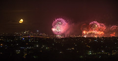 Sydney Fireworks and the Moon (eveazure) Tags: australia newsouthwales sydneyolympicpark